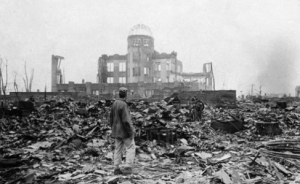 Hiroshima in 1945 following its devastation by  history's first nuclear attack.