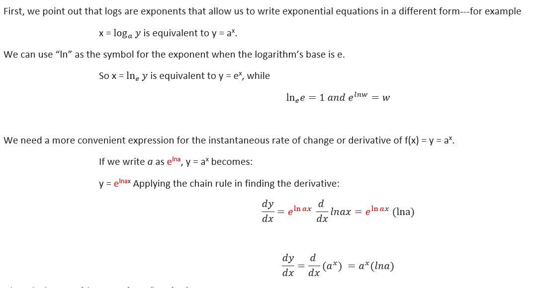 derivof a^x